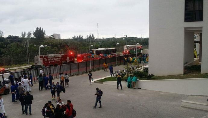 incêndio; prédio; austrália; vila olímpica (Foto: GloboEsporte.com)