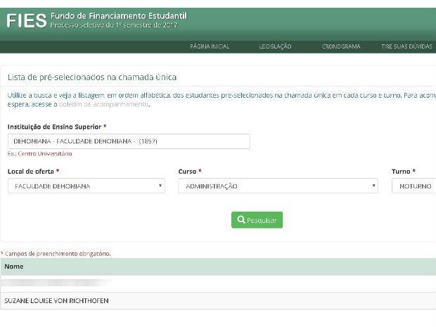 Suzane Richthofen é aprovada no Fies para cursar faculdade católica (Foto: Reprodução/Fies)