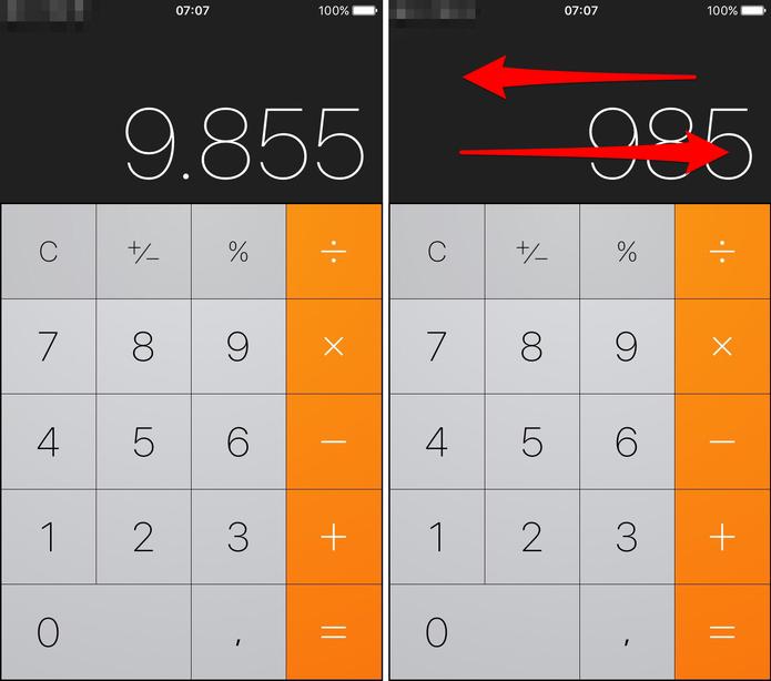 Botão de apagar na calculadora (Foto: Reprodução/Lucas Mendes)