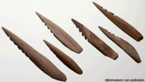 Objetos pré-históricos foram encontrados no Mar do Norte (Foto: BBC)