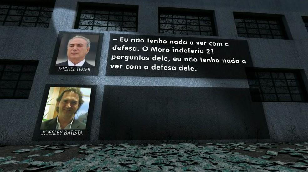 Temer comenta perguntas de Cunha barradas por Moro e diz não ter relação com a defesa do ex-deputado (Foto: Reprodução/TV Globo)