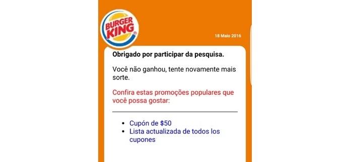 4107b9e783775 Mensagem final de suposto golpe no WhatsApp envolvendo Burger King (Foto   Divulgação ESET
