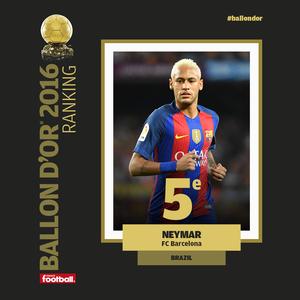 Neymar é o quinto colocado na Bola de Ouro da France Football (Foto: Reprodução)
