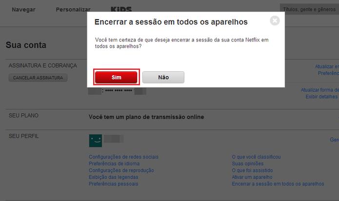 Confirme o desligamento em todos os aparelhos clicando sobre Sim (Foto: Reprodução/Paulo Finotti)