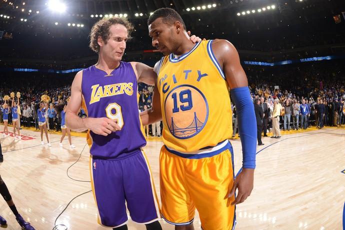 Marcelinho Huertas e Leandrinho Warriors x Lakers NBA (Foto: Getty)