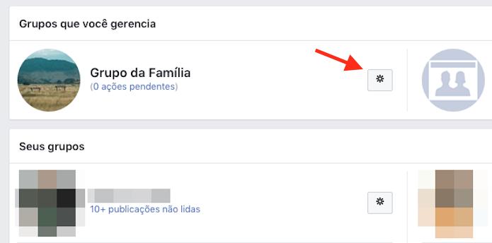 Acesso para opções de um grupo do Facebook (Foto: Reprodução/Marvin Costa)