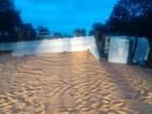 Carreta carregada com milho tomba e interdita rodovia em Pereira Barreto