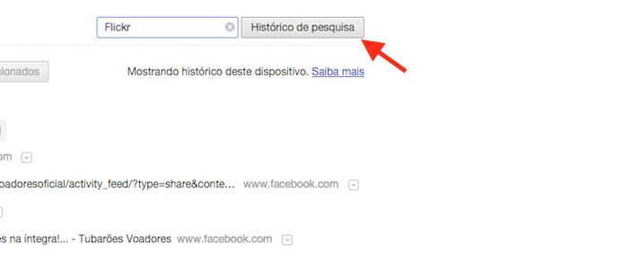 Pesquisando por um site no histórico de navegação do Google Chrome (Foto: Reprodução/Marvin Costa)