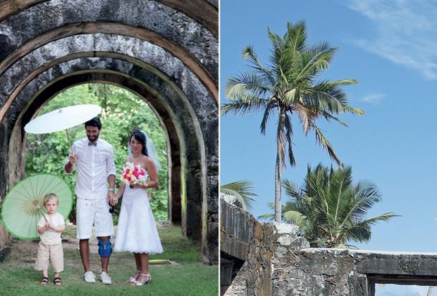 Depois da cerimônia, Mauro e Rebeca, seguidos de alguns convidados, visitaram as ruínas do castelo da Praia do Forte (Foto:  Evelyn Müller )