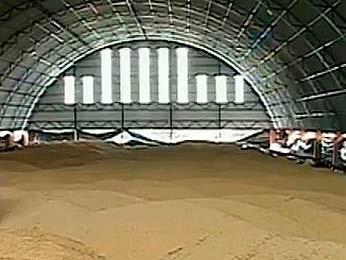 Ginásio de esportes armazena grãos de soja (Foto: Reprodução/RBS TV)
