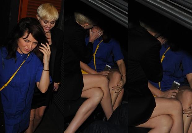 Miley Cyrus e moça desconhecida (Foto: AKM / GSI)