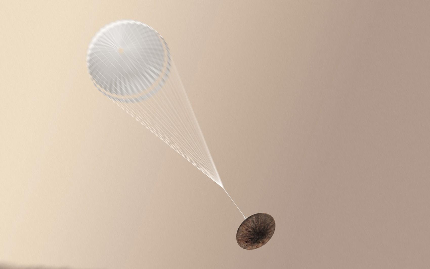 Ilustração mostra módulo Schiaparelli com paraquedas aberto; Agência Espacial Europeia (ESA) ainda não sabe se módulo sobreviveu a pouso em Marte