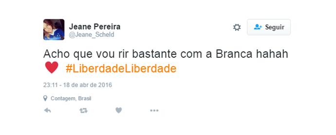 tweet liberdade1 (Foto: Gshow)