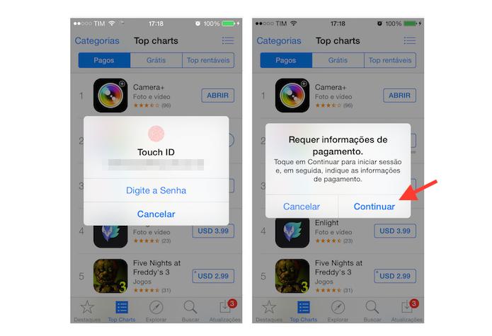 Inserindo a senha da ID da Apple e acessando a tela de configuração da forma de pagamento da App Store no iPhone (Foto: Reprodução/Marvin Costa)