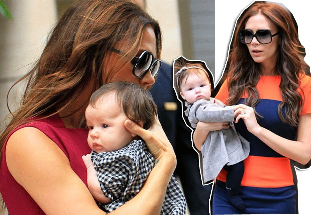 Harper Seven com a m&#227;e, Victoria Beckham (Foto: Splash News)