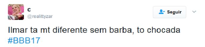 Tweet Ilmar BBB (Foto: Reprodução)