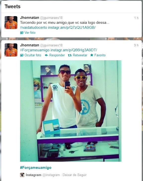 Jhonnatan manda apoio ao ex-companheiro de clube (Foto: Reprodução / Twitter)