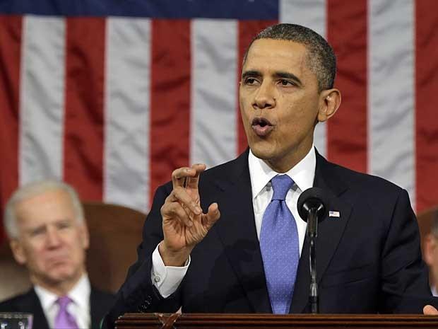 O presidente dos EUA, Barack Obama, durante discurso no Congresso. (Foto: AP Photo)