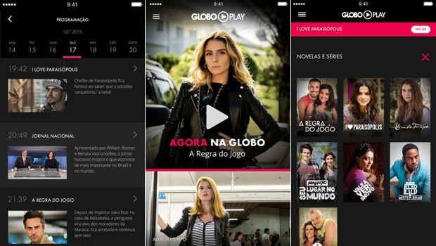 Telas do aplicativo Globo Play para iPhone (Foto: Globo)