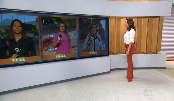Repórter da TV Sergipe participa do Bom dia Brasil (Foto: Reprodução / TV Globo)