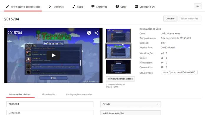 Ferramenta de edição permite customizar vídeos já carregados (Foto: Reprodução/João Kurtz)