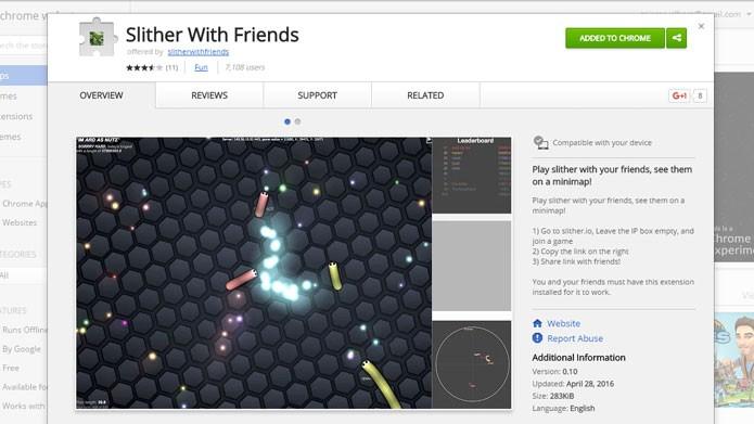 Adicione a extensão SlitherWithFriends ao Google Chrome (Foto: Reprodução/Tais Carvalho)