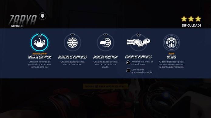 Habilidades de Zarya em Overwatch (Foto: Reprodução/Felipe Vinha)