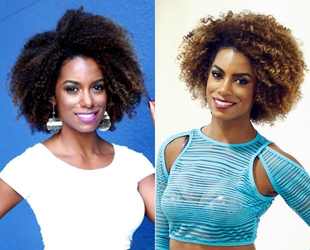Antes e depois do cabelo novo de Ivi Pizzott (Foto: Raphael Dias / Gshow / Ellen Soares / Gshow)
