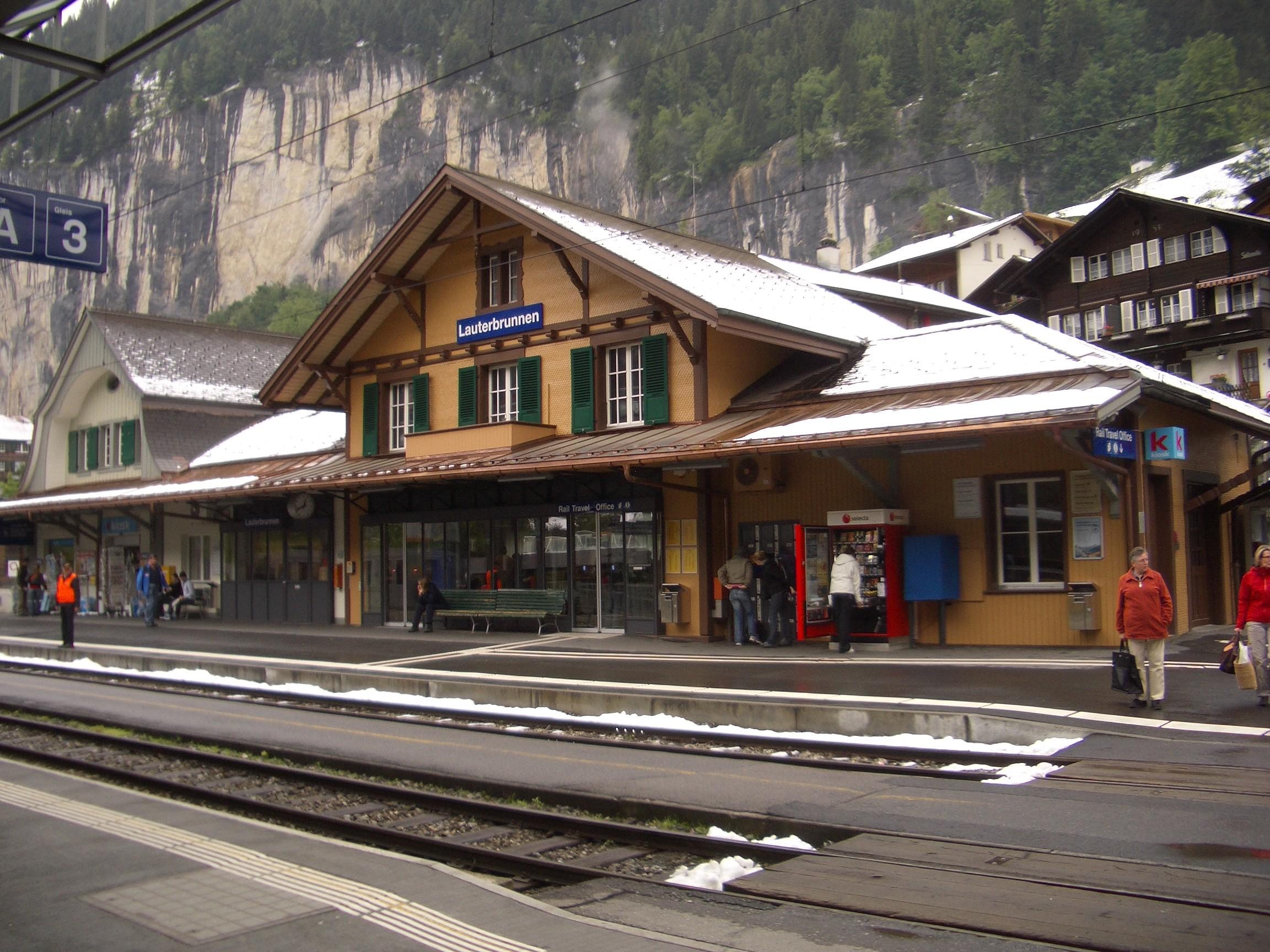 Estação de trem em Lauterbrunnen (Foto: Wikimedia Commons)