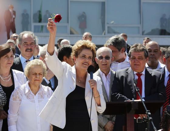 Presidente Dilma fala a simpatizantes sobre seu afastamento (Foto: Sérgio Lima/ÉPOCA)