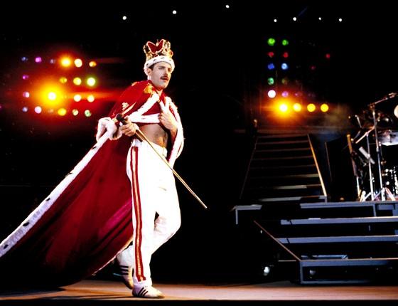 Freddie Mercury durante a inesquecível apresentação no primeiro Rock in Rio, em 1985 (Foto: Divulgação)