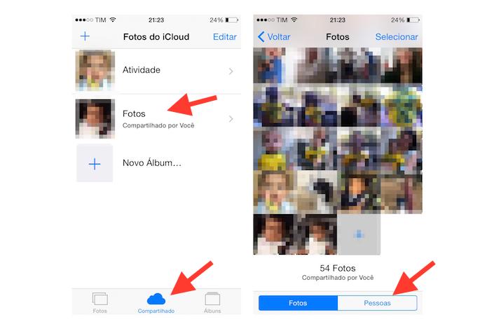 Acessando a configuração Pessoas para convidar contatos para um álbum compartilhado do iOS (Foto: Reprodução/Marvin Costa)