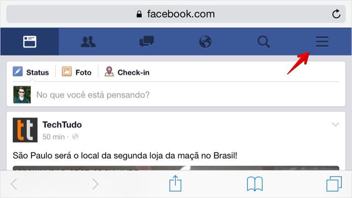 Acesse a página principal do Facebook (Foto: Reprodução/Helito Bijora)