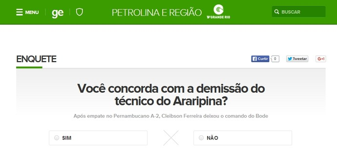 Enquete quer saber sua opinião: Você concorda com a demissão do técnico do Araripina? (Foto: GloboEsporte.com)
