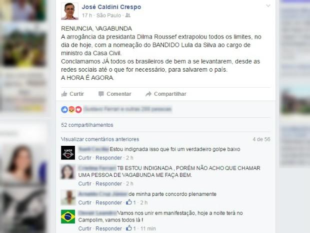 Vereador de Sorocaba causou polêmica ao xingar Dilma de vagabunda (Foto: Reprodução/Facebook)