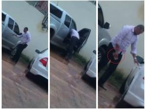 Ação do suspeito foi filmada por um funcionário do empresário furtado (Foto: Arquivo pessoal)