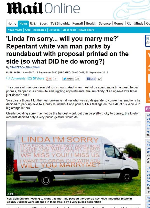 Homem se desculpou e pediu mulher em casamento com mensagem em van. (Foto: Reprodução)
