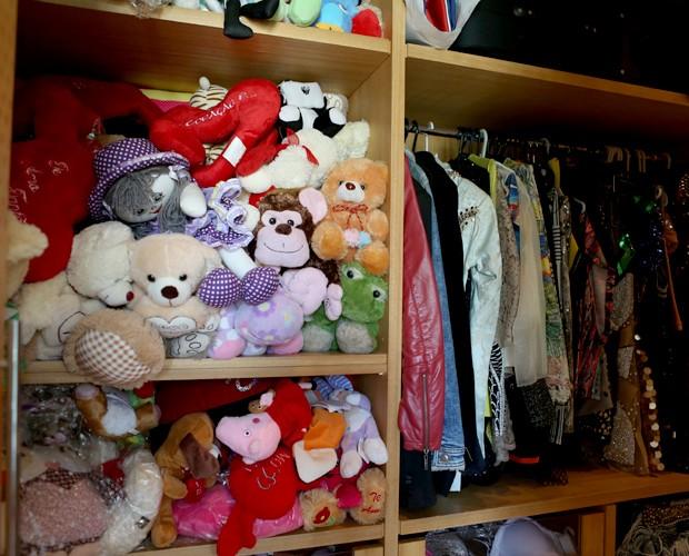 Closet com centenas de ursinhos de pelúcia (Foto: Pedro Curi / Gshow)