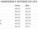 Com ingressos a partir de R$ 75, o UFC Fortaleza inicia vendas na quarta