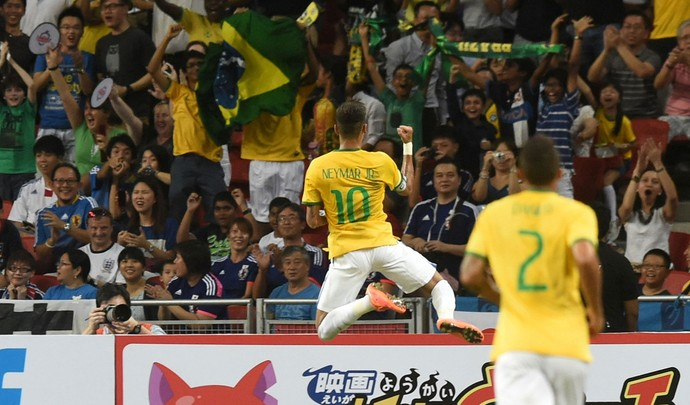 Neymar gol, Brasil x Japão (Foto: AFP)