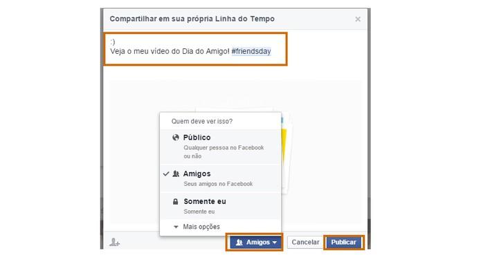 O usuário pode escrever um recado e alterar a privacidade do post antes de publicar (Foto: Reprodução/Barbara Mannara)