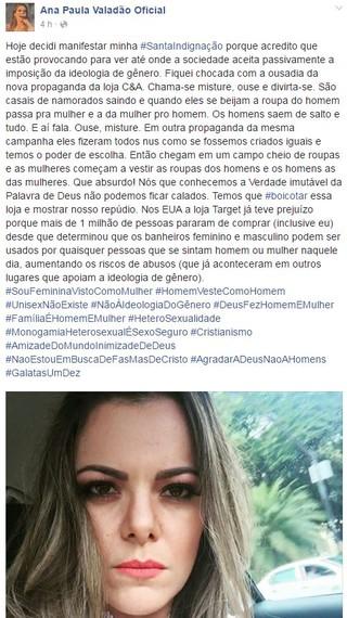 Post de Ana Paula Valadão Oficial no facebook (Foto: Reprodução / Facebook)