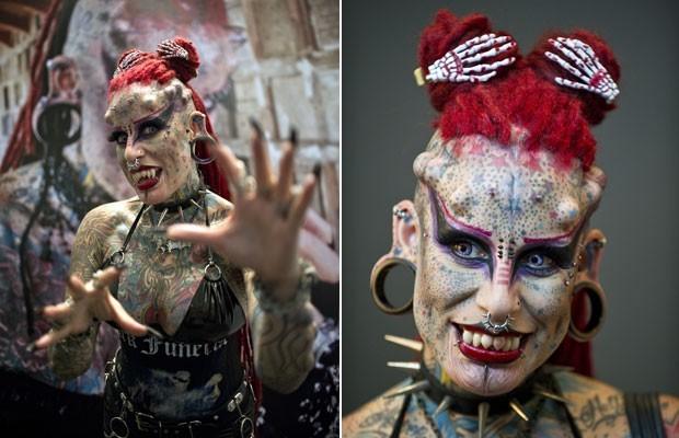 Entre as modificações, 'mulher vampiro' implantou chifres e presas. (Foto: Ronaldo Schemidt/AFP)