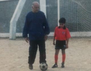 Rômulo e Luís Carlos seu primeiro treinador (Foto: Arquivo Pessoal)