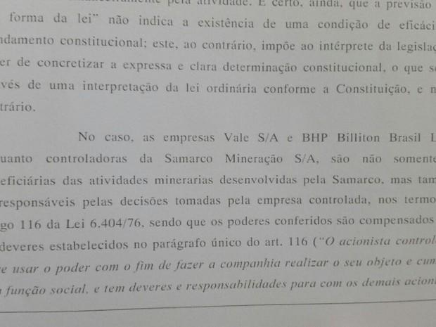 Segundo decisão, Vale e BHP são corresponsáveis por decisões da Samarco (Foto: Reprodução/ TV Gazeta)