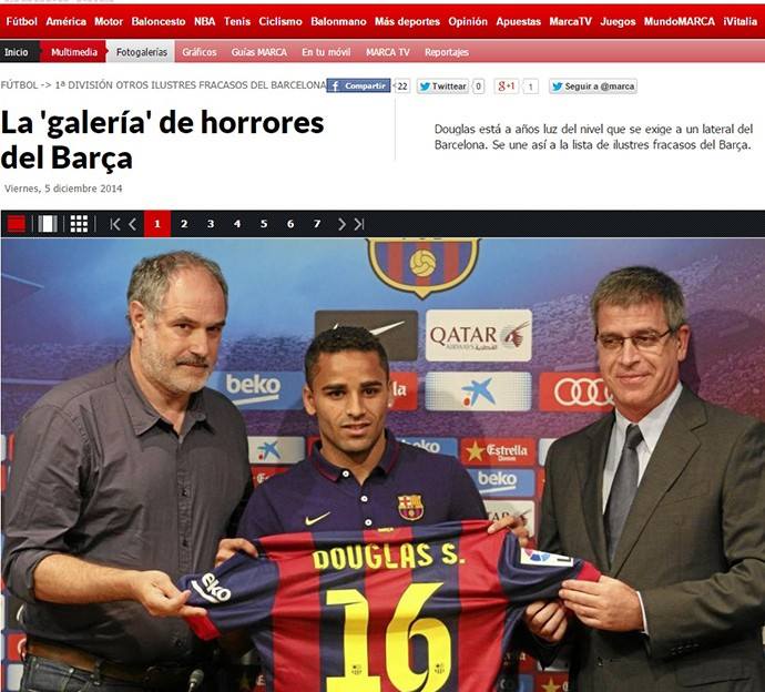 Douglas entra em galeria de horrores do Barça