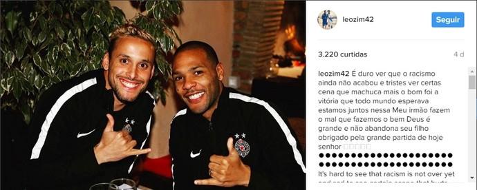 Leonardo postou uma mensagem em apoio ao companheiro de time (Foto: Reprodução/Instagram)
