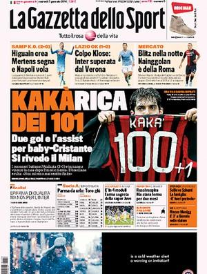Reprodução capa jornal Gazzeta Dello Sport Kaká milan 100 gols (Foto: Reprodução)