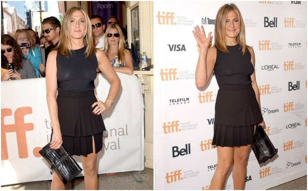 Jennifer Aniston deixa seio  mostra (Foto: Reproduo / Getty Images)
