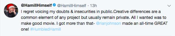 A mensagem na qual Mark Hamill expôe seu arrependimento em relação às críticas feitas por ele ao caminho de Luke Skywalker em Star Wars: Os Últimos Jedi (Foto: Twitter)